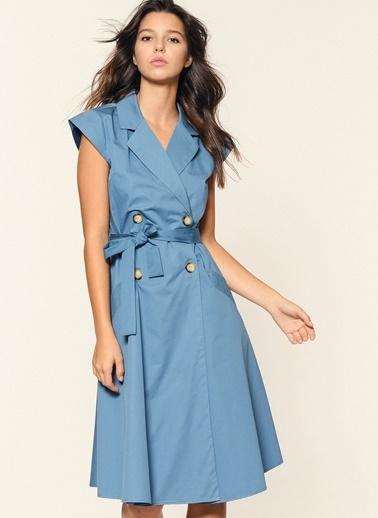 Loves You Düğmeli Ceket Yaka Elbise Mavi